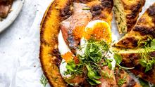 Skillet Chive Pancake with Gravadlax & Soft-boiled Eggs. Photo Credit: Sarah Watchorn