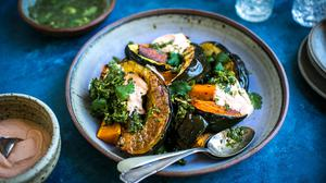 Roast Squash Platter with Spiced Herb Dressing. Photo: Donal Skehan