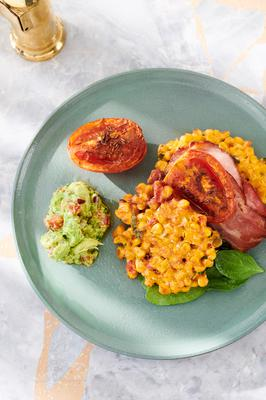 Crunch and big flavours: Sweetorn fritters with roast tomatoes, bacon & avocado salsa