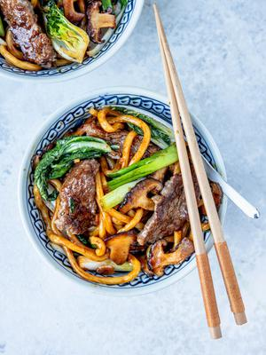 Noodles with Shiitake Mushrooms and Bok Choy