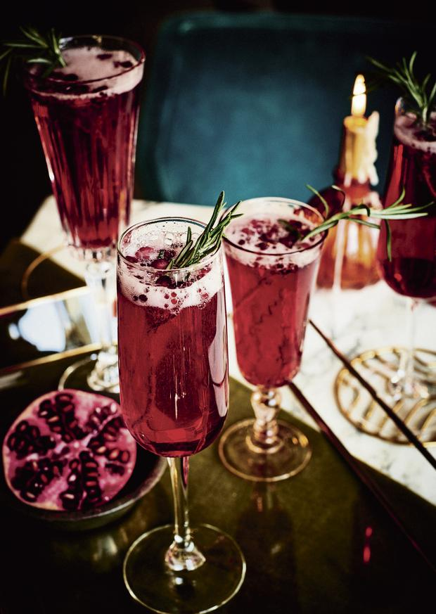 Rosemary and Pomegranate Fizz, Adapted from Redemption Bar by Andrea Waters and Catherine Salway.