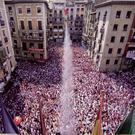 Starter's orders: the txupinazo signals the start of the bull run through San Fermin