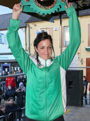 Christina McMahon shows off her world title. Photo: Pat Byrne.