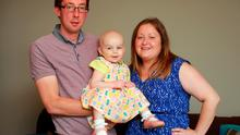 Alice Turner, aged two, who has nuroblastoma, at home in Drogheda with parents Paul and Lyndsey, who are hoping to get her into an American medical trial