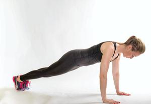 Mountain climber 1. Start with feet on floor and two hands on the ground. Make sure your back is flat with your core engaged.