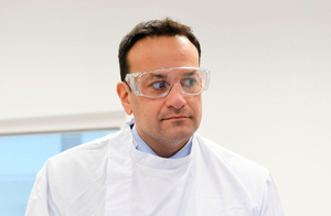 Taoiseach Leo Varadkar during a visit to the UCD National Virus Reference Laboratory in Dublin