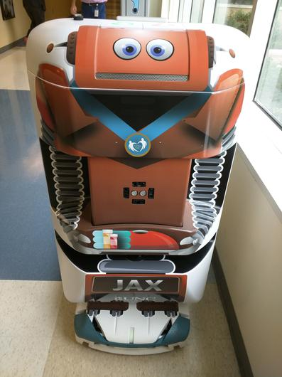 An Automatic Guided Vehicle similar to ones that will transport various items around the new hospital. Photo: Steve Humphreys