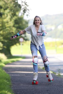 Life on wheels: 'I remember loving rollerskates so much when I was a kid,' says Donegal mum Deirdre Fitzpatrick. Photo: Lorcan Doherty