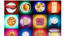 A selection of cholesterol-rich foods.