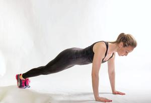 Plank Jacks 1. Start on your toes and hands with your arms straight back flat and your feet together. Then jump your feet out to the sides without moving hand position.