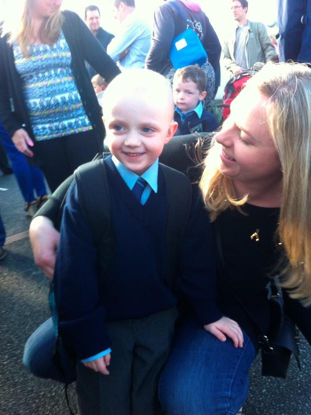 Danny D'Arcy with his mother Aine on his first day at school