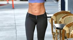 Six-pack: Jennifer Lopez is snapped leaving the gym last week.