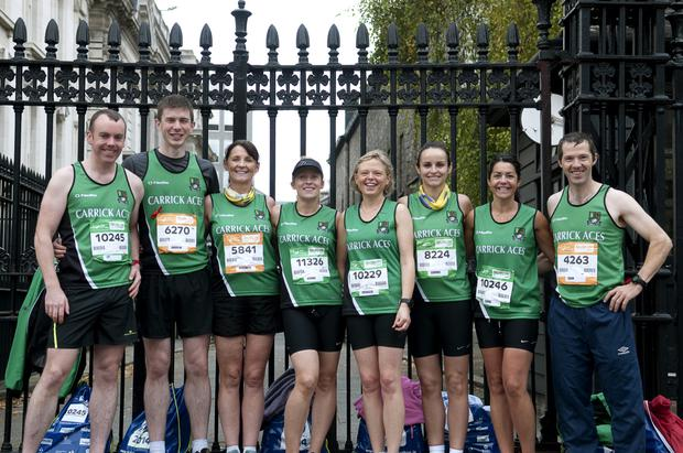 Members of Carrick Aces AC who to took part in the SSE Airtricity Dublin Marathon