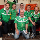 Left to right, team psychologist Gerry Hussey, head coach Billy Walsh, Adam Nolan, Des Donnelly, Team Manager, assistant coach Zaur Anita and team physiotherapist Conor McCarthy celebrate after Nolan's victory over Ionut Gheorghe, Romania, at the Welterweight 69kg in 2012