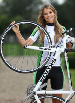 Vogue Williams and her bike