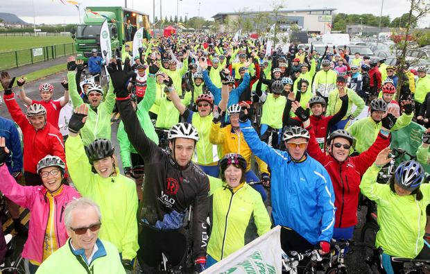 Bressie (in black) at the start of An Post Cycle Tour 100K at IT Sligo last year