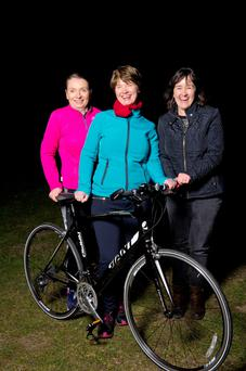 Pictured at Malahide RFC are (LtoR) Emiear Kelly, Patricia Byrne and Margaret Sheahan who all completed The Irish Cycling Centre Course