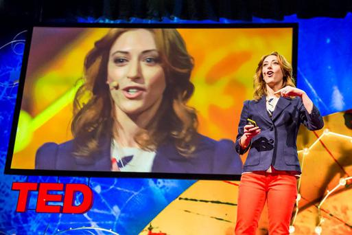 Author Kelly McGonigal giving a TED talk.