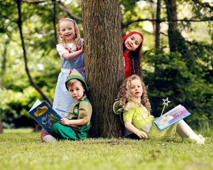 Little readers: Pictured are Poppy Moroney, Meaghan Dunne, Abigail Short and AJ Teeling, all aged 5, from Dublin.