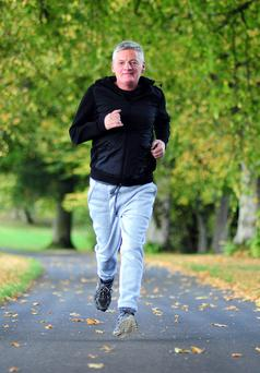 Marty Mulligan is able to pound away his problems on a run. Photo: James Flynn.