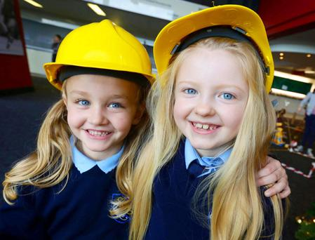 Construction Buddies Terina Kelly and Ella Taylor both aged 6 and both from Dundalk pictured at the launch of a new book entitled 'Grandad Built My House' at Croke Park, Dublin.