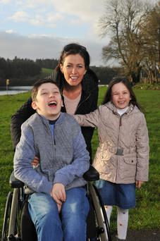 Sinead Murphy from Dripsey, Co Cork with her daughter Romy and son Ben. Photo: Daragh Mc Sweeney/Provision.