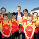Ballymahon-Forgney Community Games Committee chairperson, Shirley Mooney (back), with students from St Matthew's National School, (l-r) Ella Casey, Eoghan Duncan, Christopher Killian, Jack Walsh, Clara Forbes, Rebecca Farrell, Cian Mollony and Emma Noonan.
