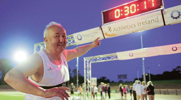 Frank Greally matches his 1970 Irish Junior record time on the 45th anniversary in 2015 Photo: Tomás Greally / SPORTSFILE