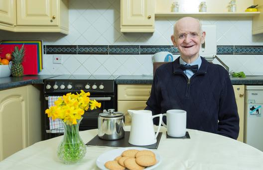 Paddy Lyons in his new two-storey assisted living space in Montenotte, in Co Cork. Photo: Gerard McCarthy