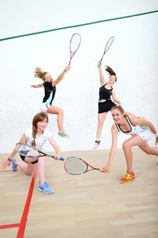 Members of the Irish Ladies Squash Team: Sophie O'Rourke (back row left) Hannah Craig (back row right) Breanne Flynn (front row right) and Sarah Corcoran (front row left) photographed training in WestWood Sports Centre, Leopardstown. Photo: Marc O'Sullivan