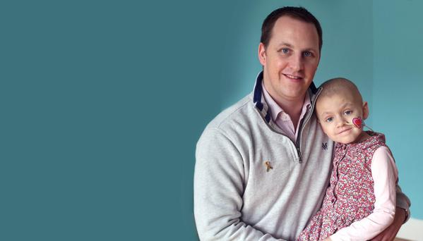 Alan Pearson and his daughter, Cliodhna, age 5, who has neuroblastoma. Photo: Damien Eagers