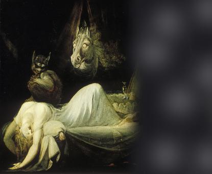 The Nightmare (1781) by Henry Fuseli depicts the 'hag' people often seen during sleep paralysis