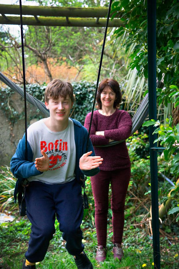 Nature lover: Victoria White with her son Tom at their south Dublin home. Photo: Colin O'Riordan