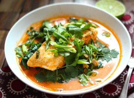Hake in coconut broth with brown rice