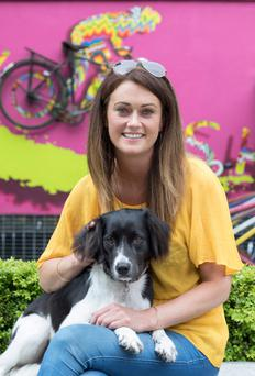 Paws for thought: Former tech company executive Maria Sweeney with her dog Bonnie in Greystones, Co Wicklow. Photo: Fergal Phillips