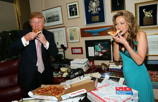 Donald Trump eating pizza