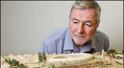 Vision: Frank McGuinness, ICT director for the Children's Hospital Group, beside a 3D model of the new hospital. Photo: Steve Humphreys