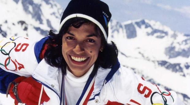 Bonnie St John competing at the 1984 Winter Paralympics