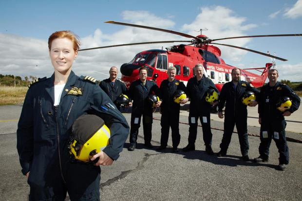 Captain Dara Fitzpatrick with (from left) Capt. Mark McDermott, Capt. Peter McKenzie-Brown, SFO Lee Bennett, and winch operators Neill McAdam, Keith Devaney and Neville Murphy pictured for TV show Rescue 117. Dara was one of four Dublin-based Irish Coast Guard air crew that perished in a crash at Blackrock Island off the Mayo Coast in the early hours of March 14, 2017. The other crew members that died were Capt Mark Duffy, winch crew Paul Ormsby and Ciarán Smith RIP. Picture: Miki Barlok