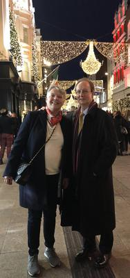 Deirdre pictured with her husband Des on Grafton Street, Christmas Eve, 2018. Deirdre sadly passed away in September