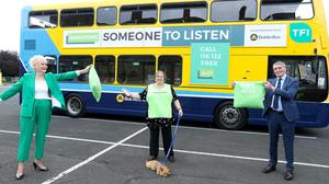 At the launch of the 'Learn 2 Listen' campaign are former Irish rally driver Rosemary Smith, Louisa Murray, Volunteer with Dublin Samaritans and Head of HR and Development, Phil Donohue of Dublin Bus.
