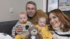 Cathy and Keith Wheatley with their twins Ted and Elsie, four months old, who were born by surrogacy. The couple feature in a new Virgin Media series starting tonight. Pic: Arthur Carron