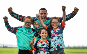 Former Donegal football star Kevin Cassidy pictured with his children, from left, Aoife (9), Fionn (5) and Nia (9), at Ghaoth Dobhair GAA Club in Gweedore, Donegal
