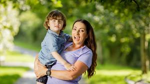 TV and radio presenter Louise Heraghty with her son, James