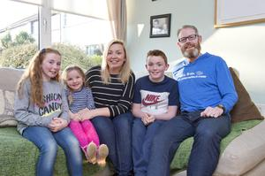 Gary Seery, with his family, (L toR)  Ella, 9, Mollie-Rose 3, Lisa, and Paul, 11
