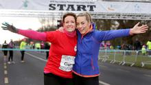 On the run: Ciara Kelly and Kathryn Thomas at the Operation Transformation 5k run in the Phoenix Park last weekend. Photo: Gerry Mooney.