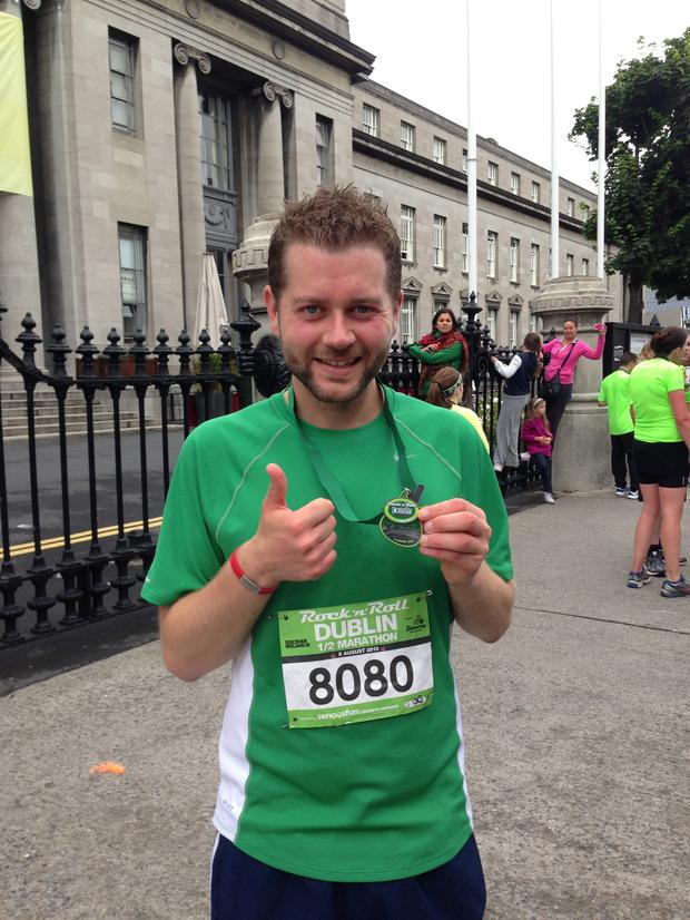 John Quinlan after completing the Dublin Rock 'n' Roll Half Marathon