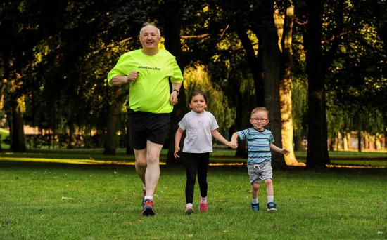 Frank Greally out for a run with his grandchildren Hayleigh and Thomas. Photo: Tomás Greally.