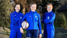 Sixteen-year-old Finola Doyle (centre) from Leopardstown, pictured with her team mates, twins Sophie and Jessica McEvoy (15) from Dundrum. Picture Choto: Frank McGrath