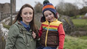 Aoife Kelly with her son Morgan, who suffers with allergies, at their home in Trim, Co Meath. Photo: Arthur Carron.